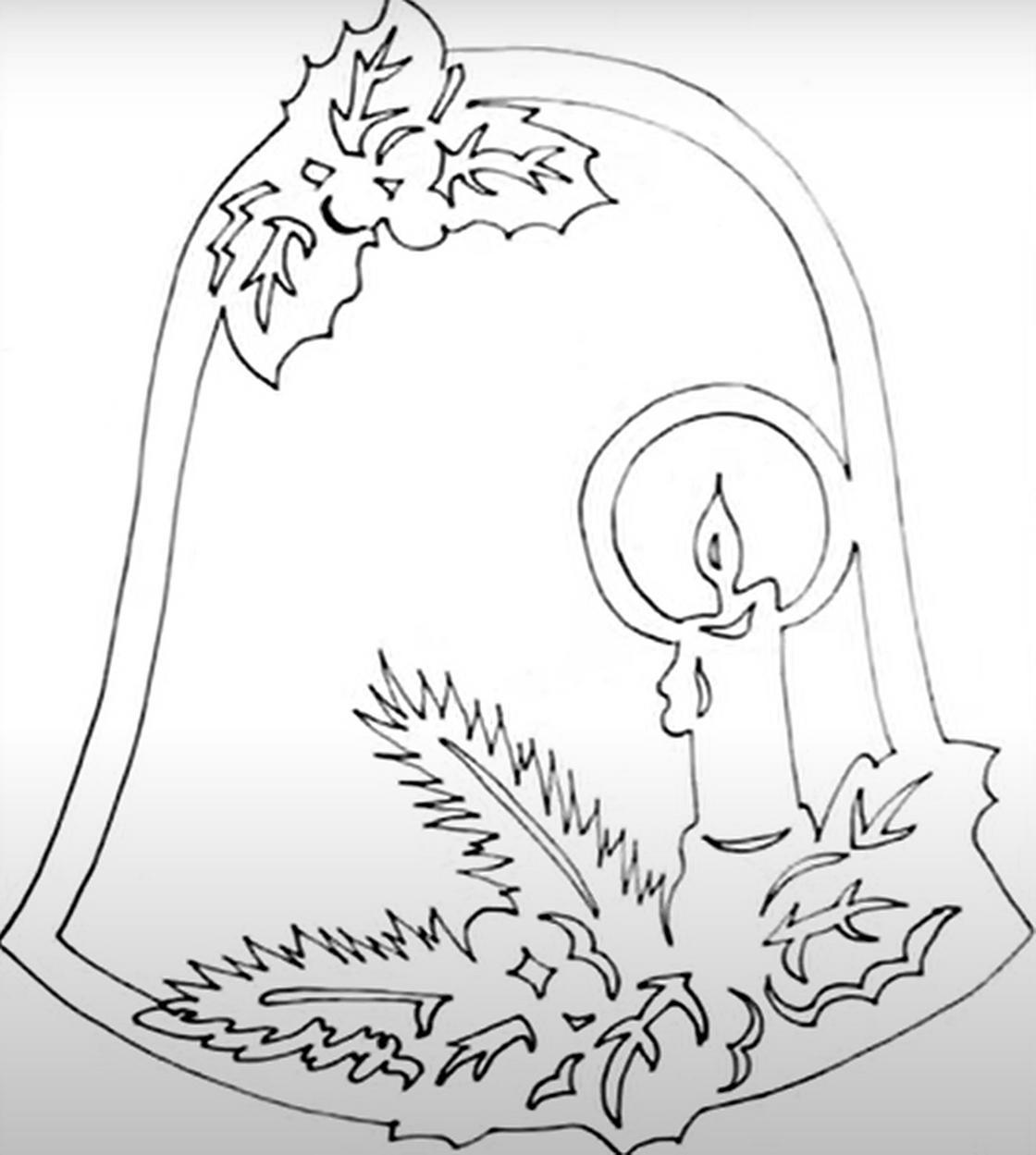 Новогодний трафарет колокольчик со свечкой