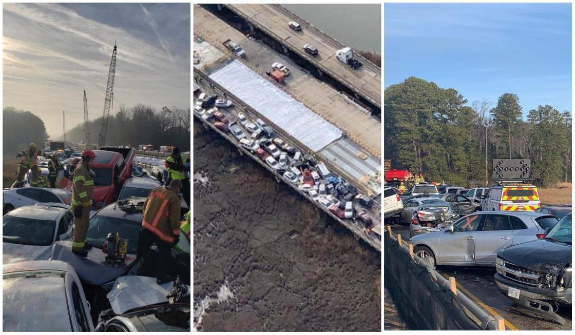 Около 70 машин попали в аварию на мосту в США (фото)
