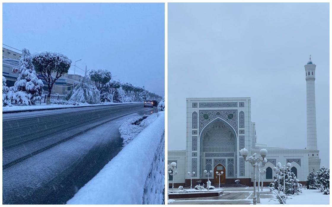 Снег выпал в Шымкенте, Таразе, Ташкенте и Душанбе