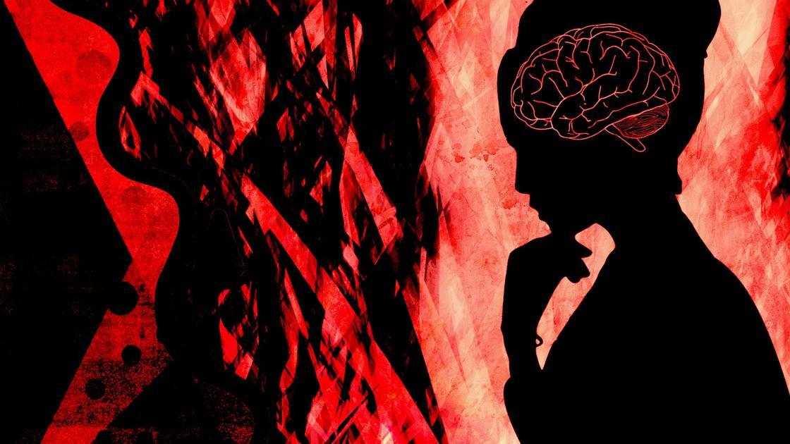 Силуэт женщины с воспаленным мозгом (фантазия)