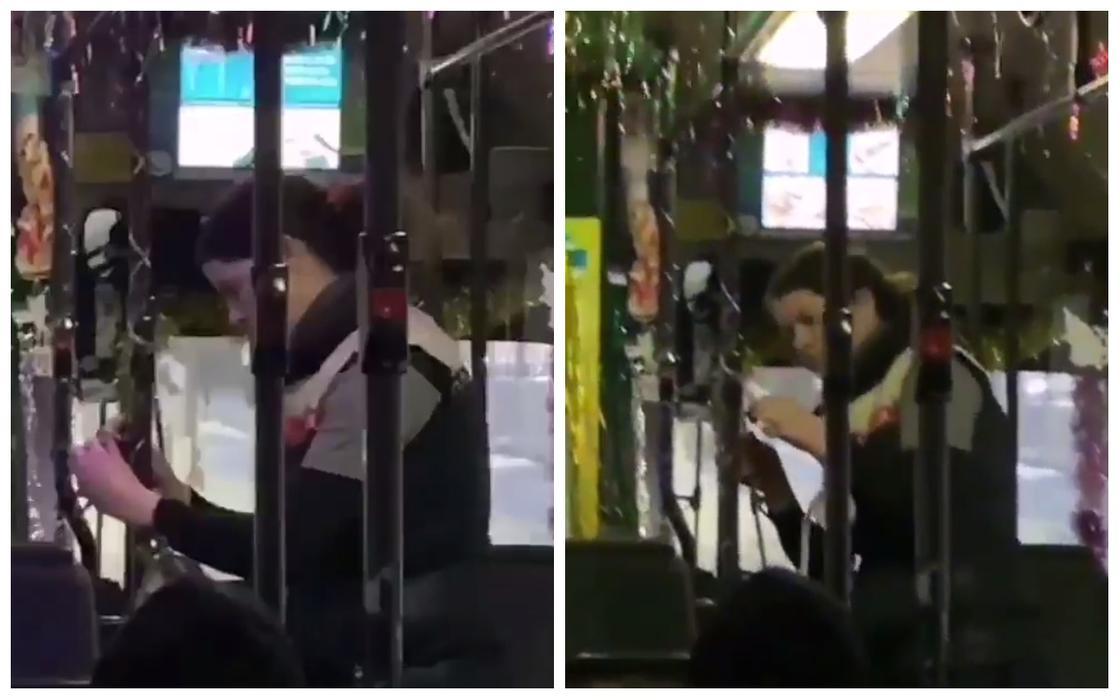 Карагандинцы восхитились новогодним украшением автобуса (видео)