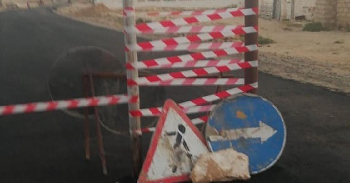Ремонт дороги в Мангистау