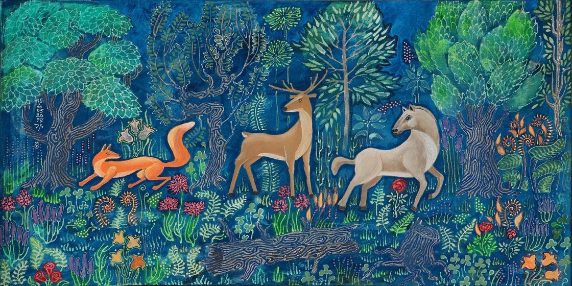 лиса, олень и волк