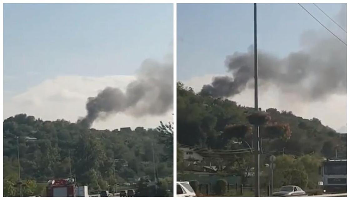 Пожар близ ВОАД в Алматы сняли на видео