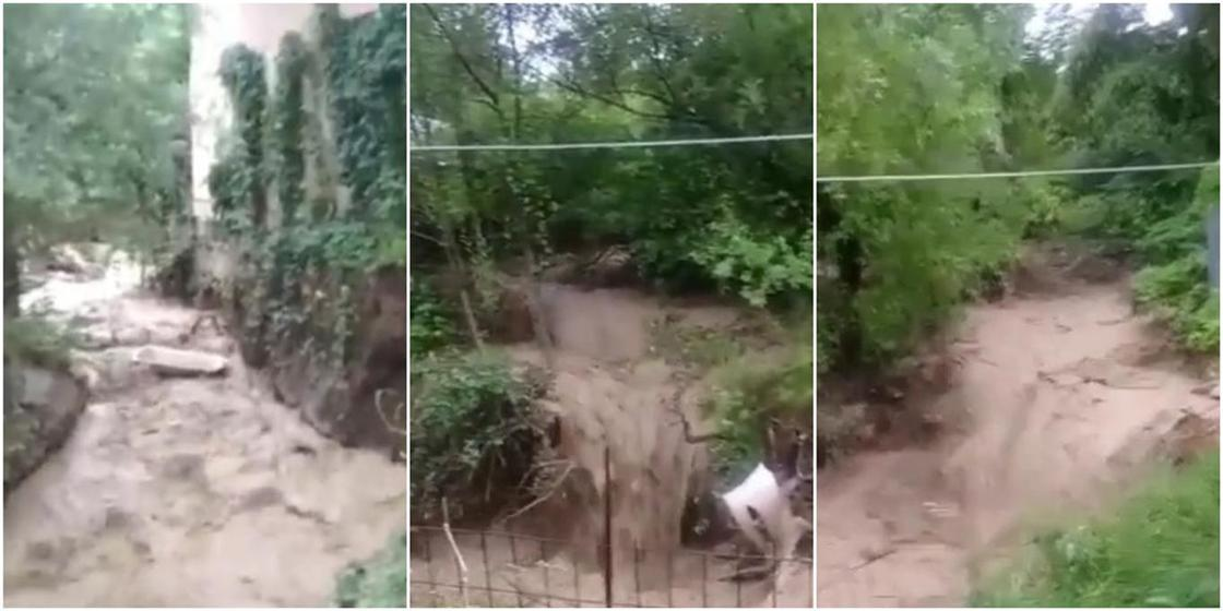 Дом может обрушиться из-за грязевого потока в Алматы (видео)