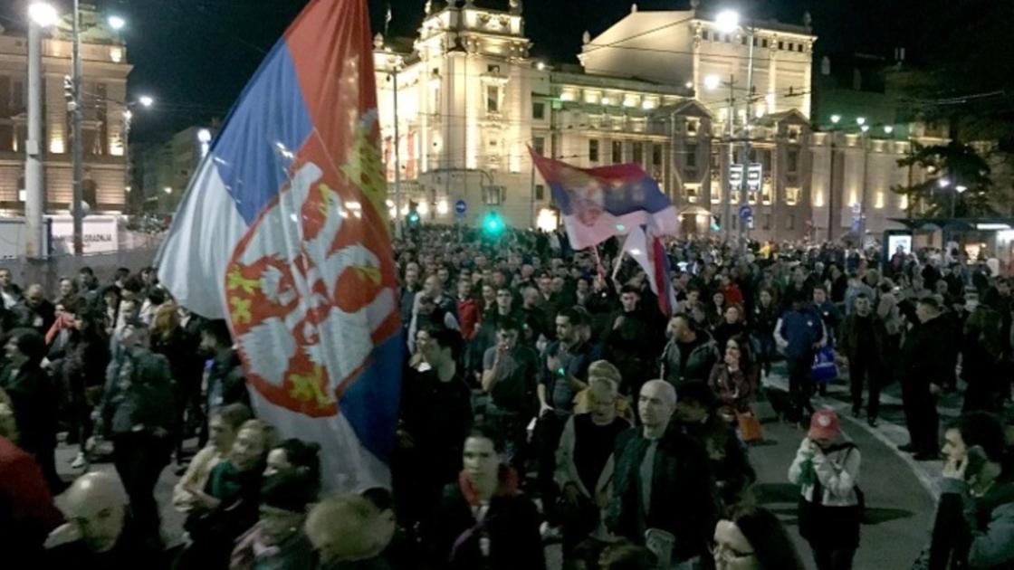 Сербиядағы наразылық. Фото: globallookpress.com