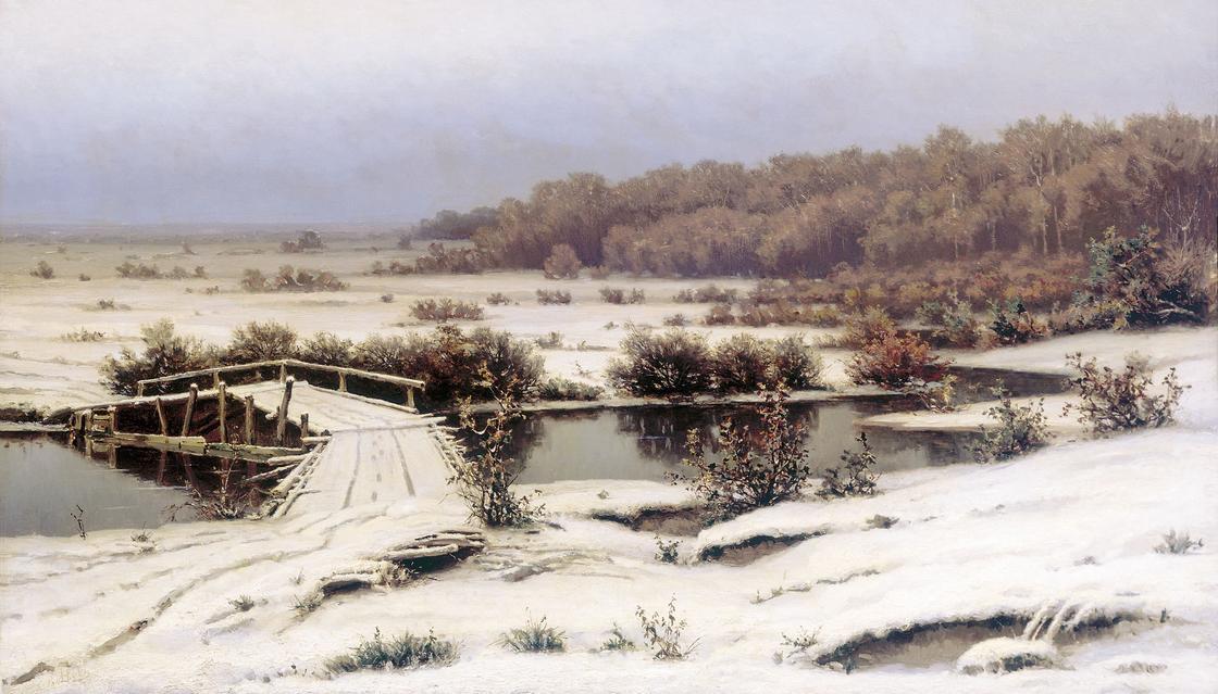 снег мост