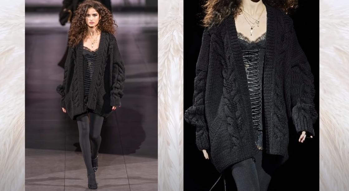 Модель в черной вязаной кофте