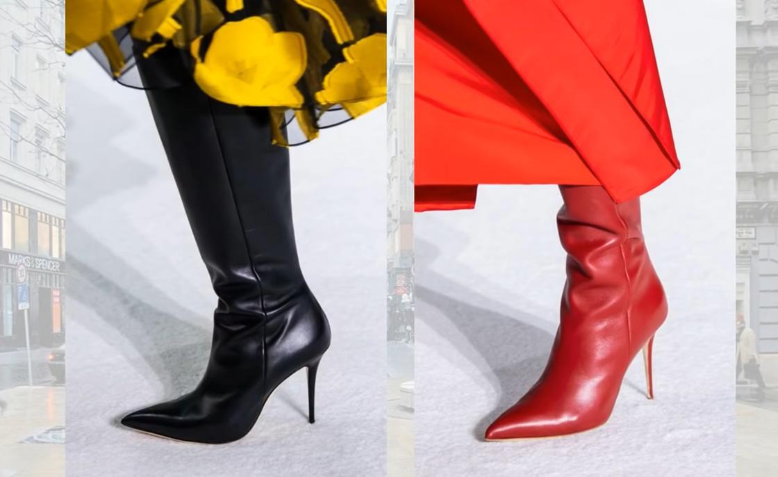 Красные и черные сапоги с острым носком на шпильке