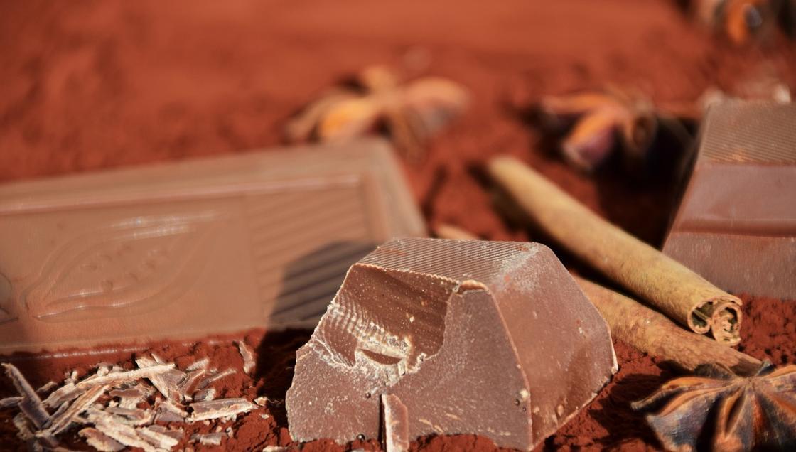 Кусочки шоколада и корица