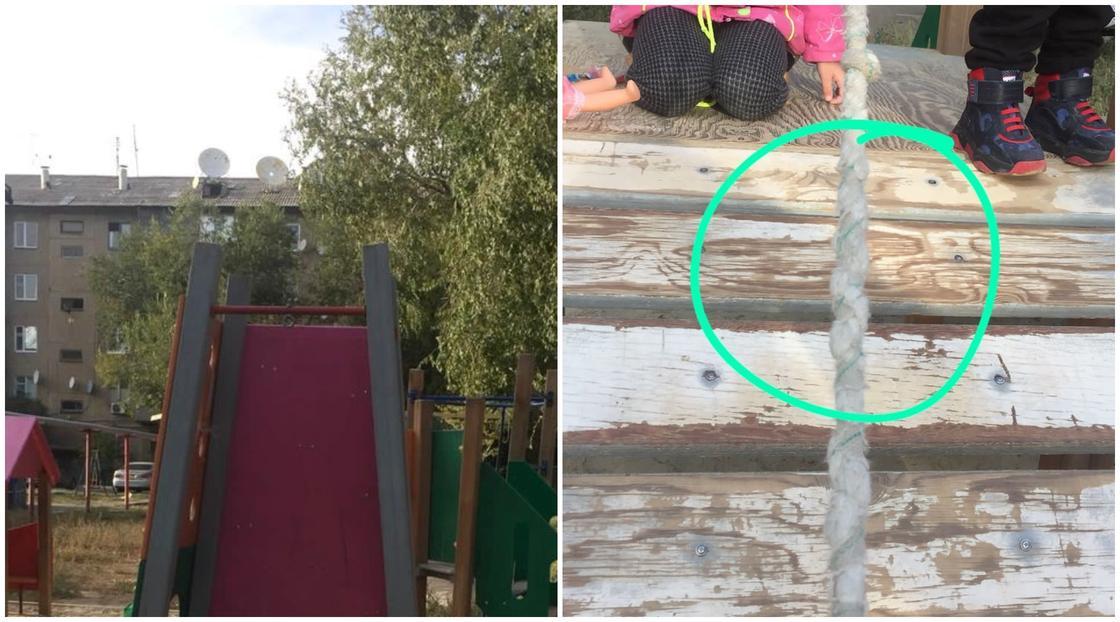Канат, в котором запутался ребенок в Уральске