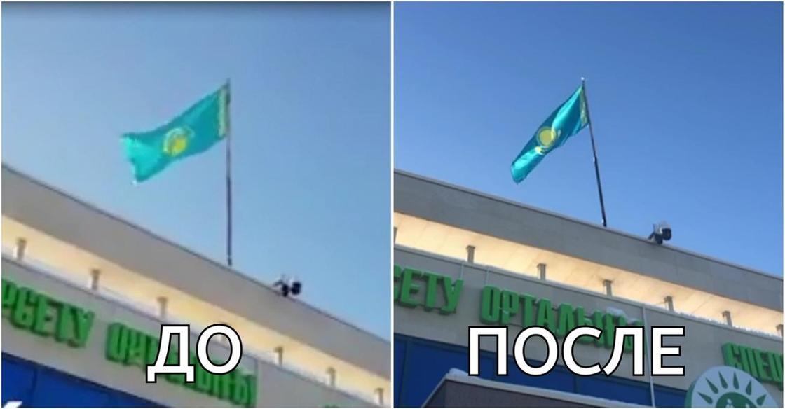 В Астане казахстанский флаг на здании спецЦОНа висел «вверх ногами» (видео)