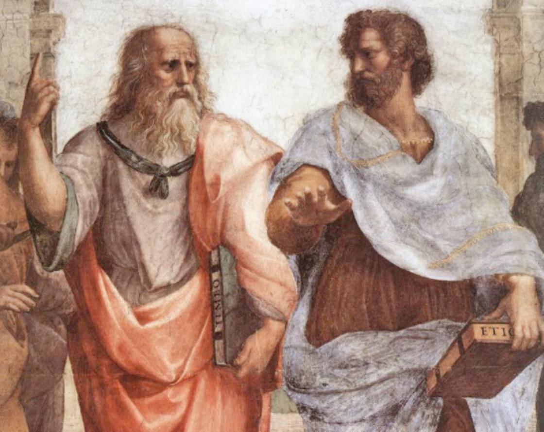 Двое мужчин в античных одеждах, с книгами. Платон и Аристотель
