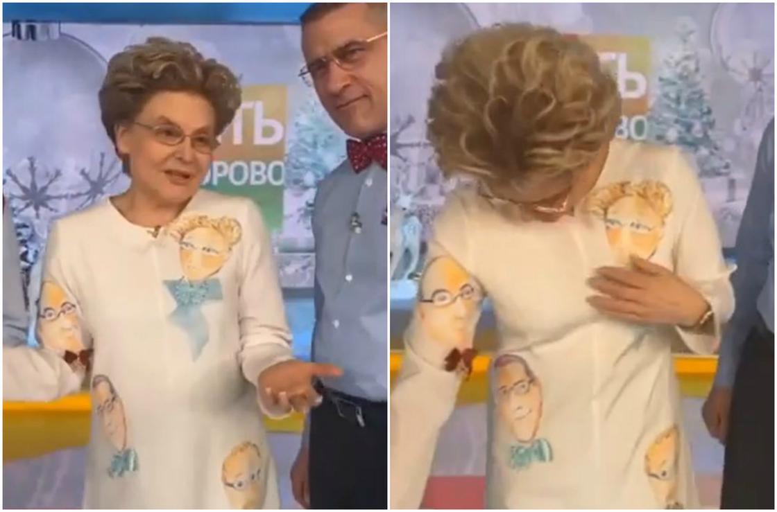Малышева вышла в эфир в платье со своим портретом