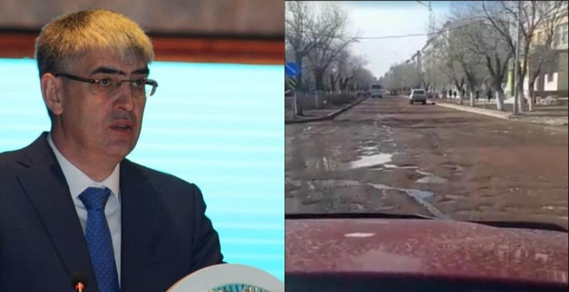 Аким Балхаша принес извинения водителям за растаявший со снегом асфальт