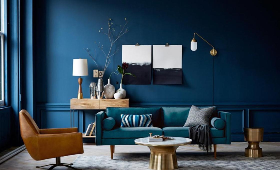 Темно-синий цвет в интерьере: психология