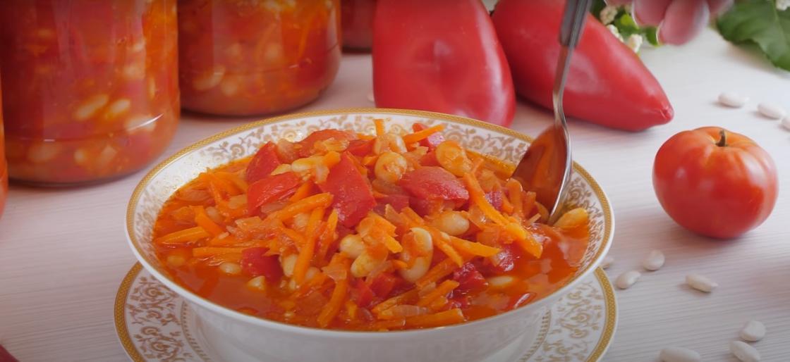 Зимний салат с фасолью