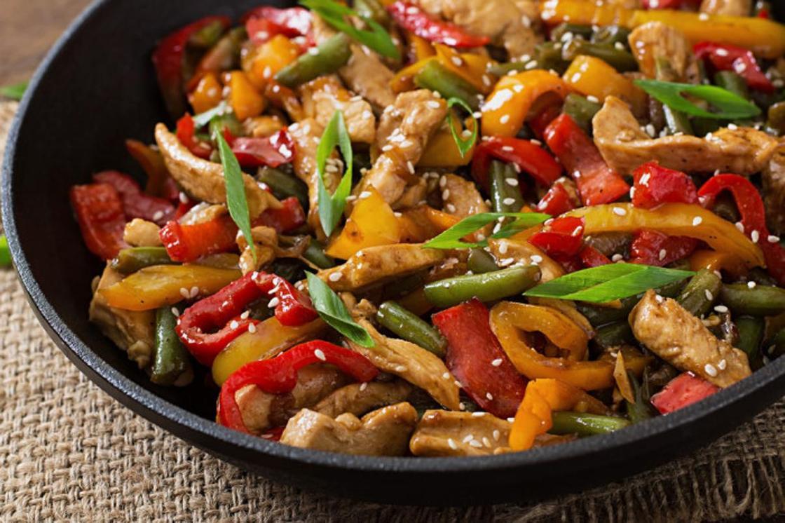 Курица с овощами в казане