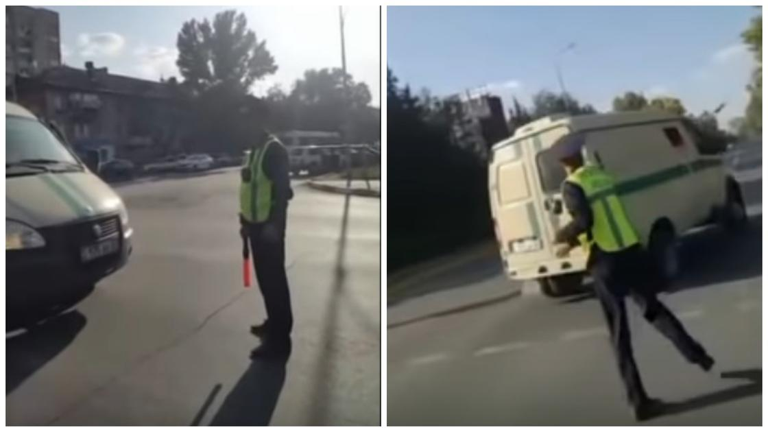 Полицейский в ЗКО разбил жезл, бросив его в инкассаторский автомобиль (видео)