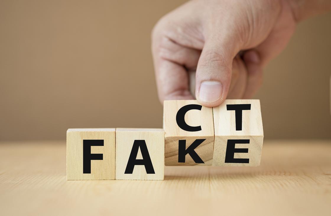 "Мужчина разворачивает кубики, меняя слова ""fact"" и ""fake"""
