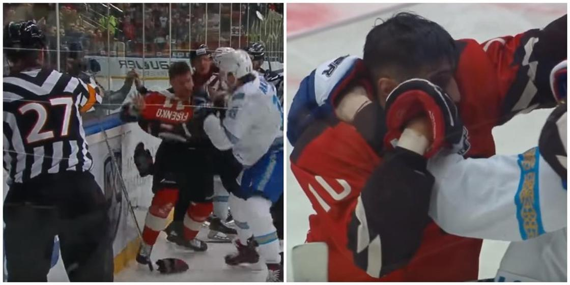 Хоккеисты «Барыса» и «Авангарда» устроили драку в полуфинале КХЛ(видео)