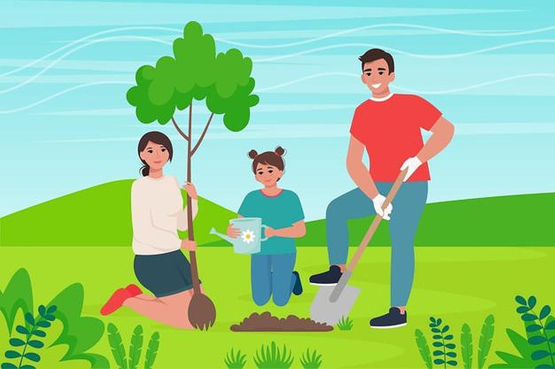 Семья высаживает дерево