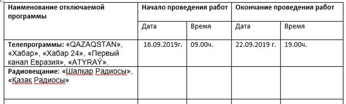 Работу радио и телевидения приостановят в Казахстане