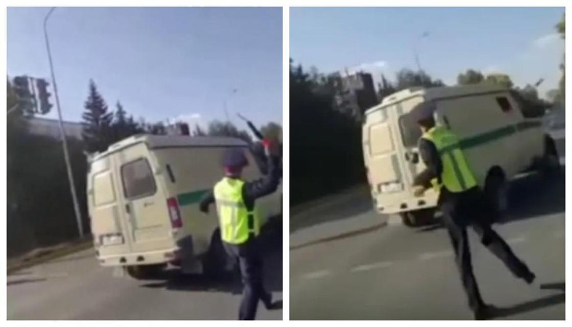 """""""Имел право"""": в ДП ЗКО рассказали о полицейском, который бросил жезл в машину"""