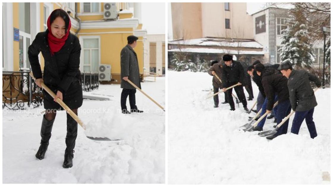 Чиновники ЗКО запустили челлендж по очистке снега (видео)