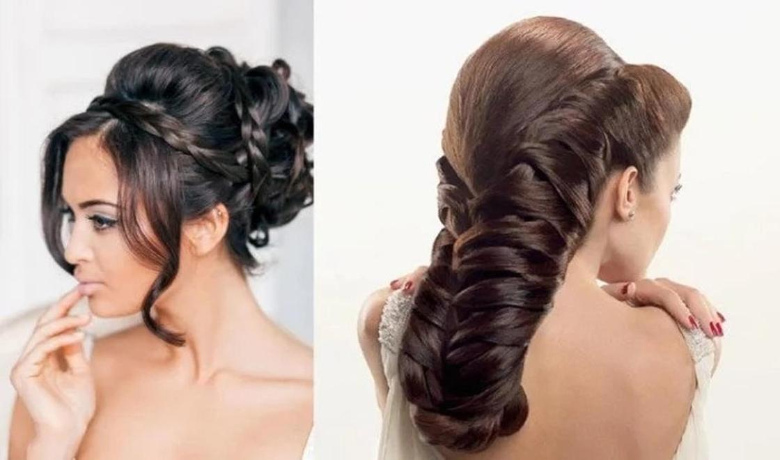 Вечерние прически с плетением на длинные волосы