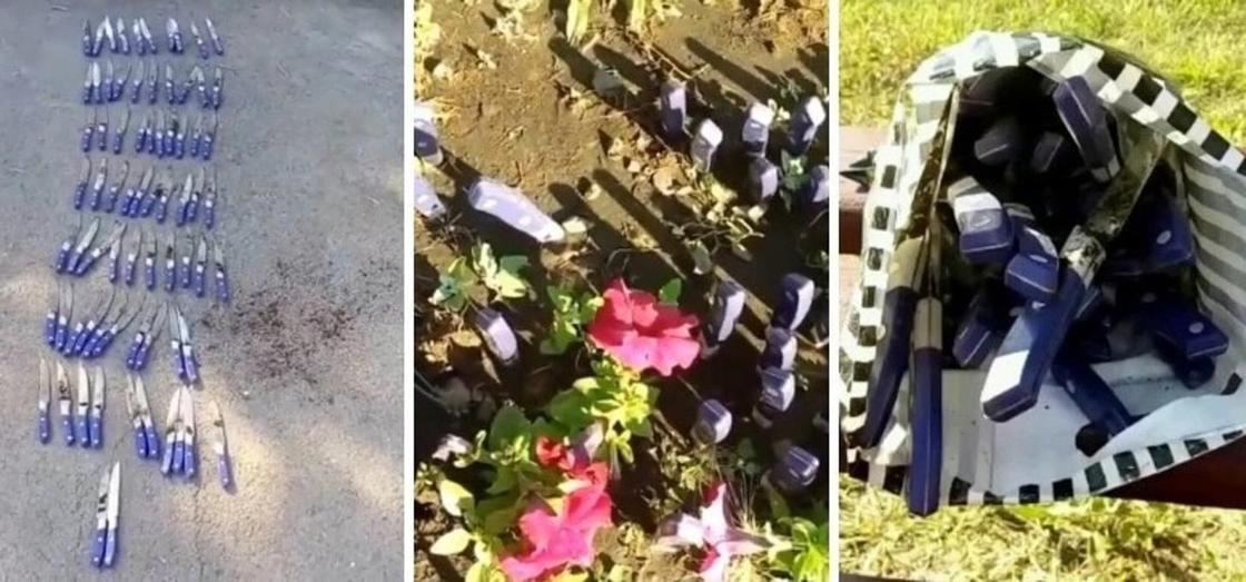 Воткнутые в землю на детской площадке 72 ножа нашла карагандинка