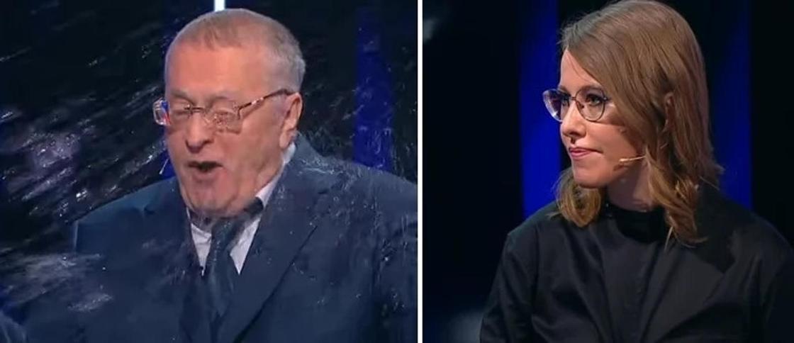 """""""Убери эту проститутку!"""": Собчак облила Жириновского водой во время дебатов"""
