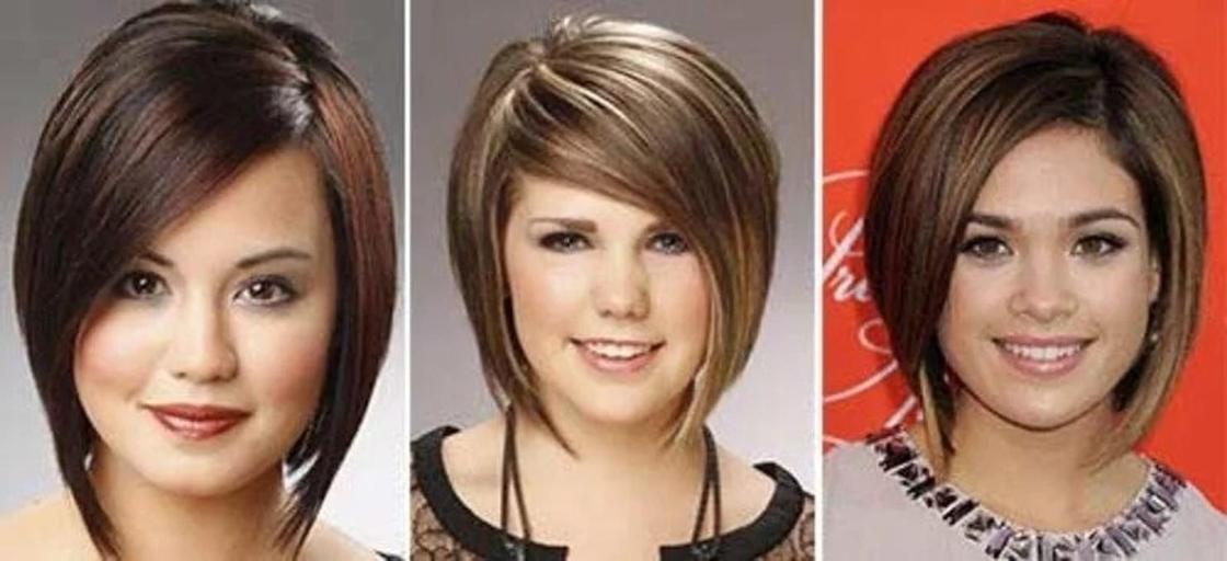 Стрижки на средние волосы с челкой для круглого лица