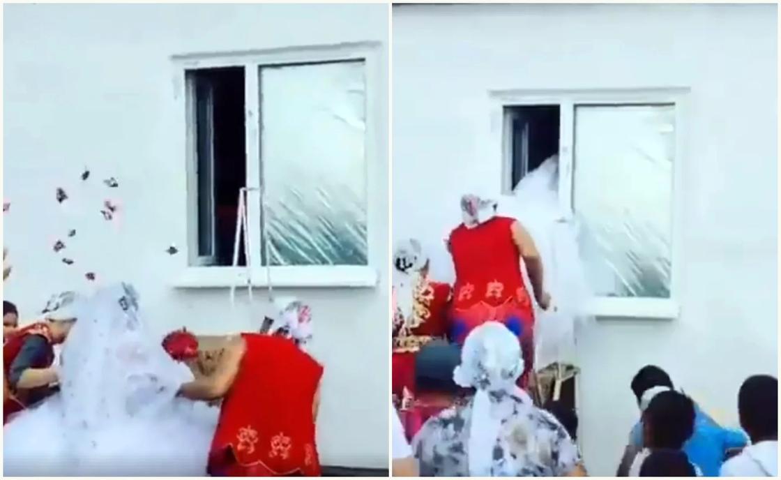 Невеста перелезла в дом жениха через окно на свадьбе в Казахстане (видео)