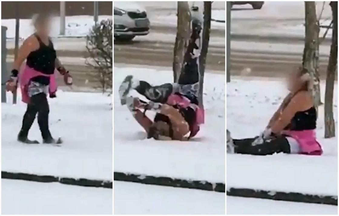 """""""Может она с полиса?"""": астанчан удивила купающаяся в снегу женщина (видео)"""