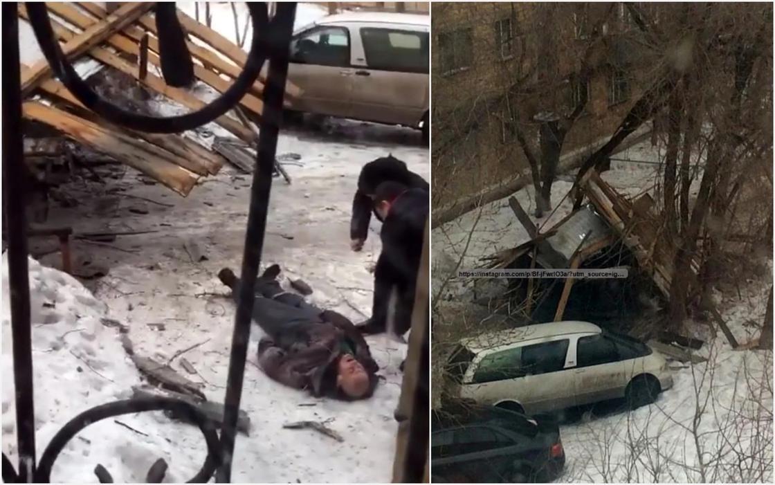 В Караганде крыша дома упала на прохожего (фото, видео)