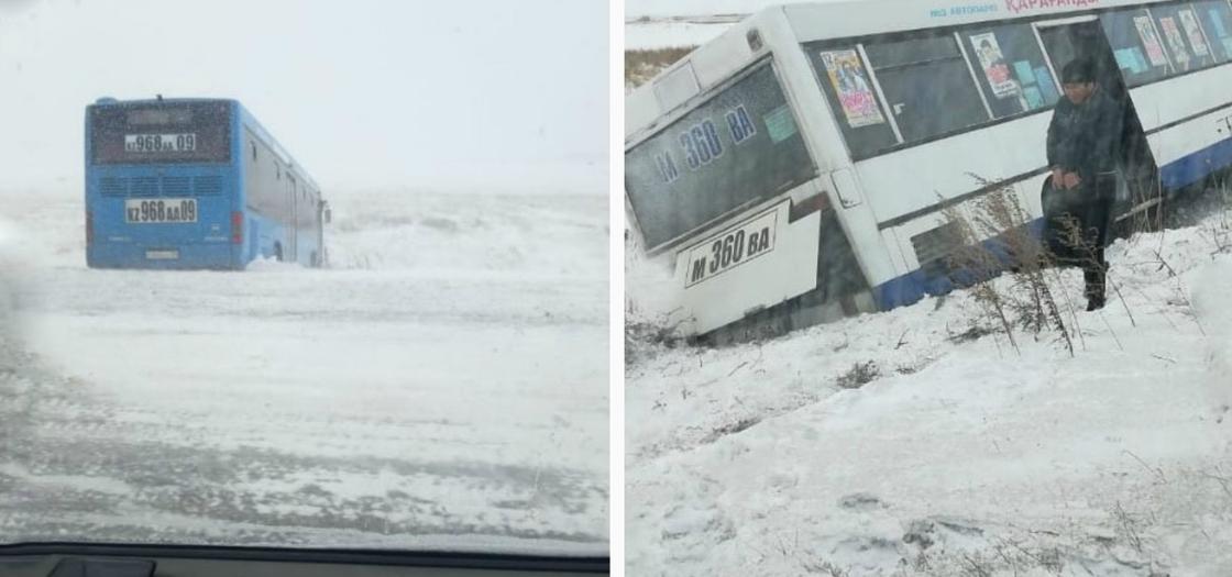 Два автобуса слетели в кювет на трассах в Карагандинской области