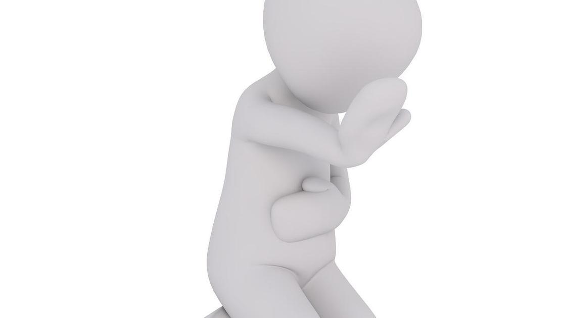 3-D рисунок: человек держится за живот