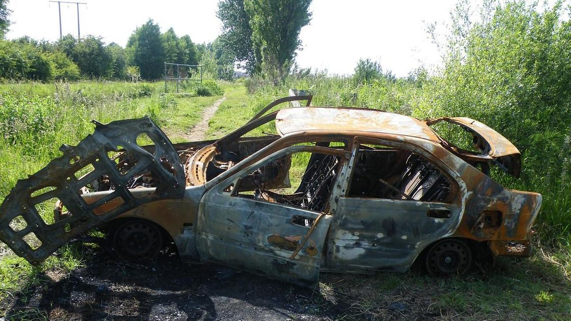 Сгоревшее авто в кустах