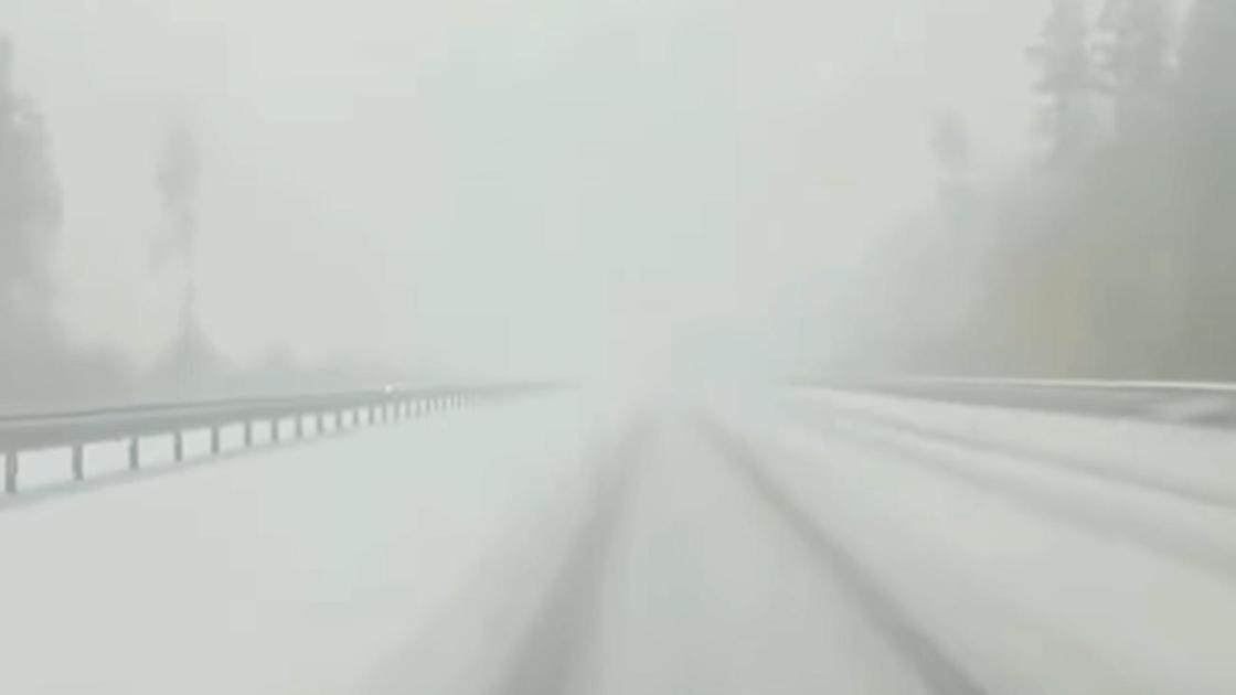Метель на трассе в Акмолинской области