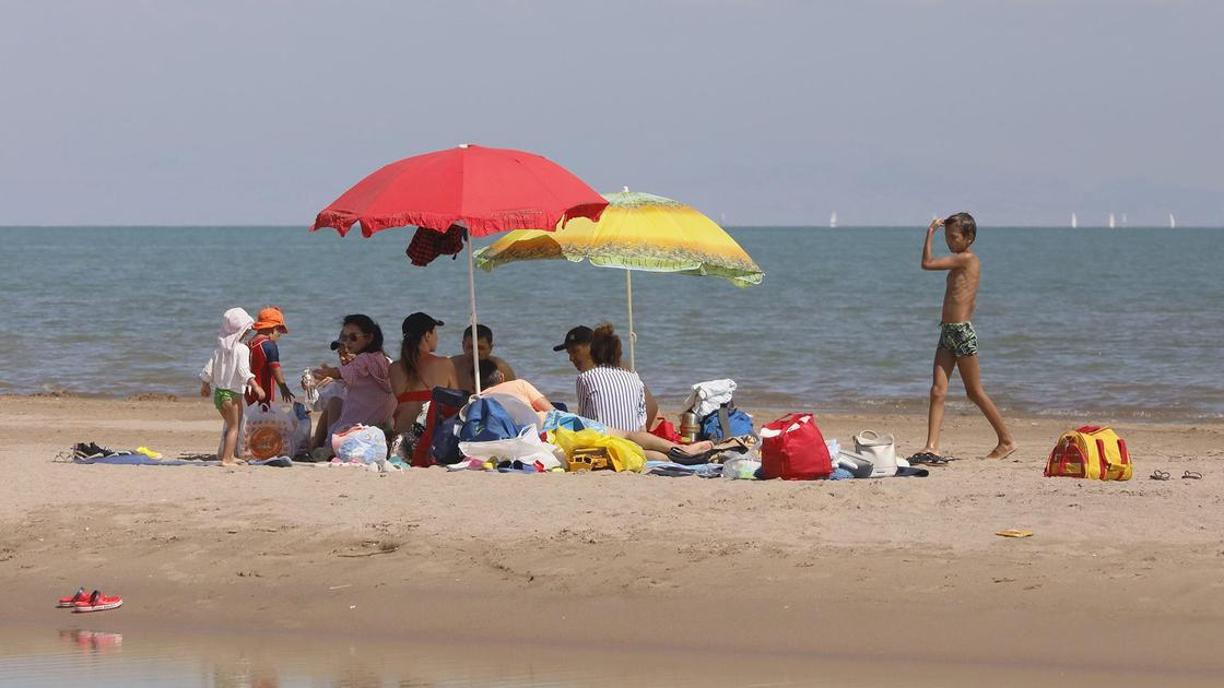 Люди отдыхают под зонтиками на пляже