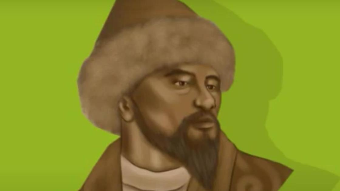 Мужчина с бородой, усами, в меховой шапке. Есим хан
