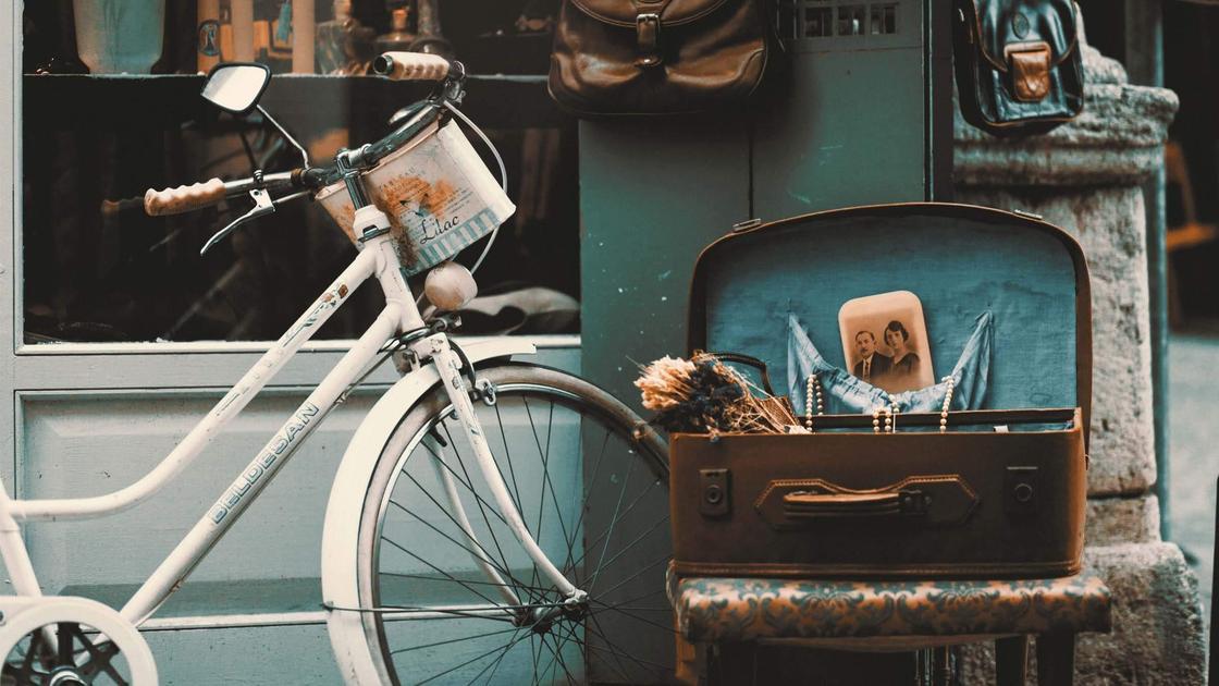 велосипед, чемодан
