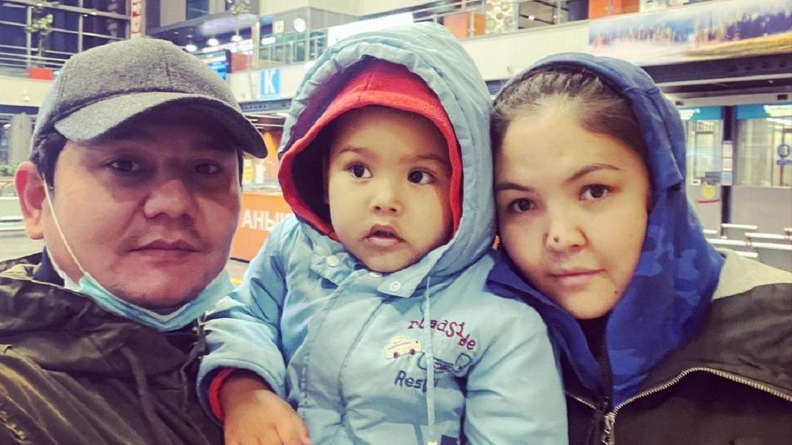 Бейбит Корган с женой и ребенком
