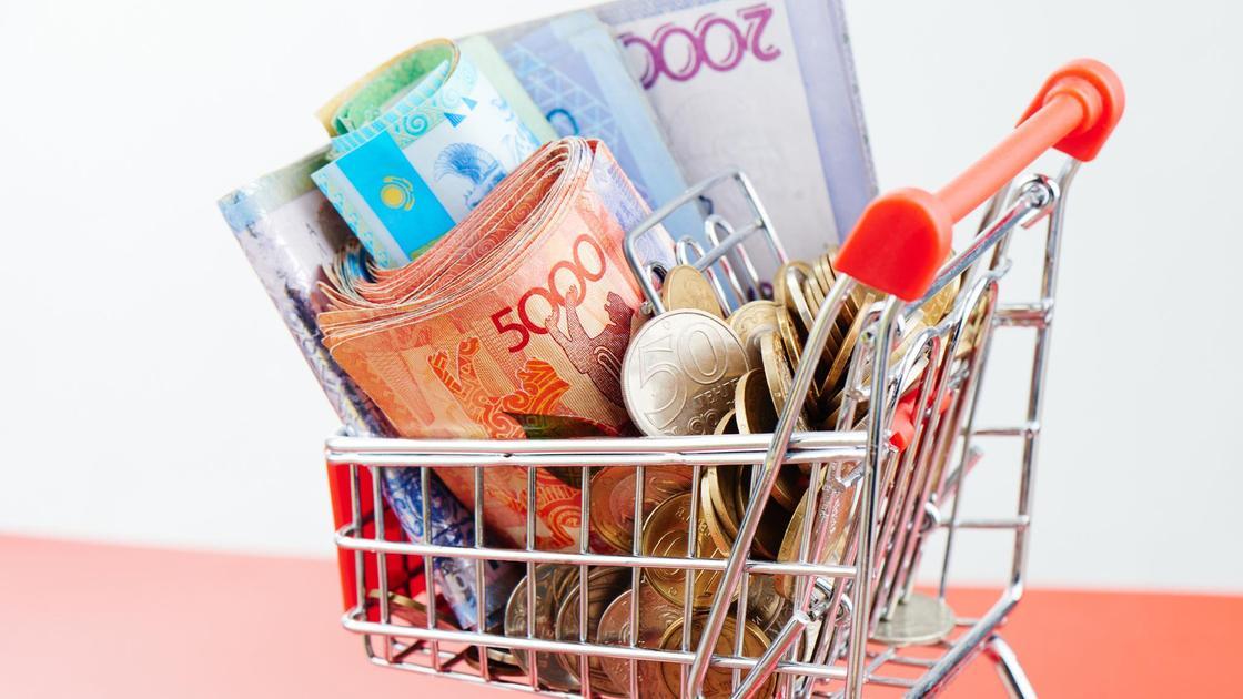 Купюры и монеты тенге лежат в миниатюрной тележке для покупок