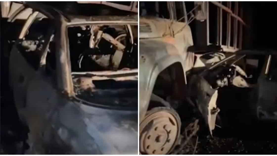 Сгоревшая машина в Жамбылской области