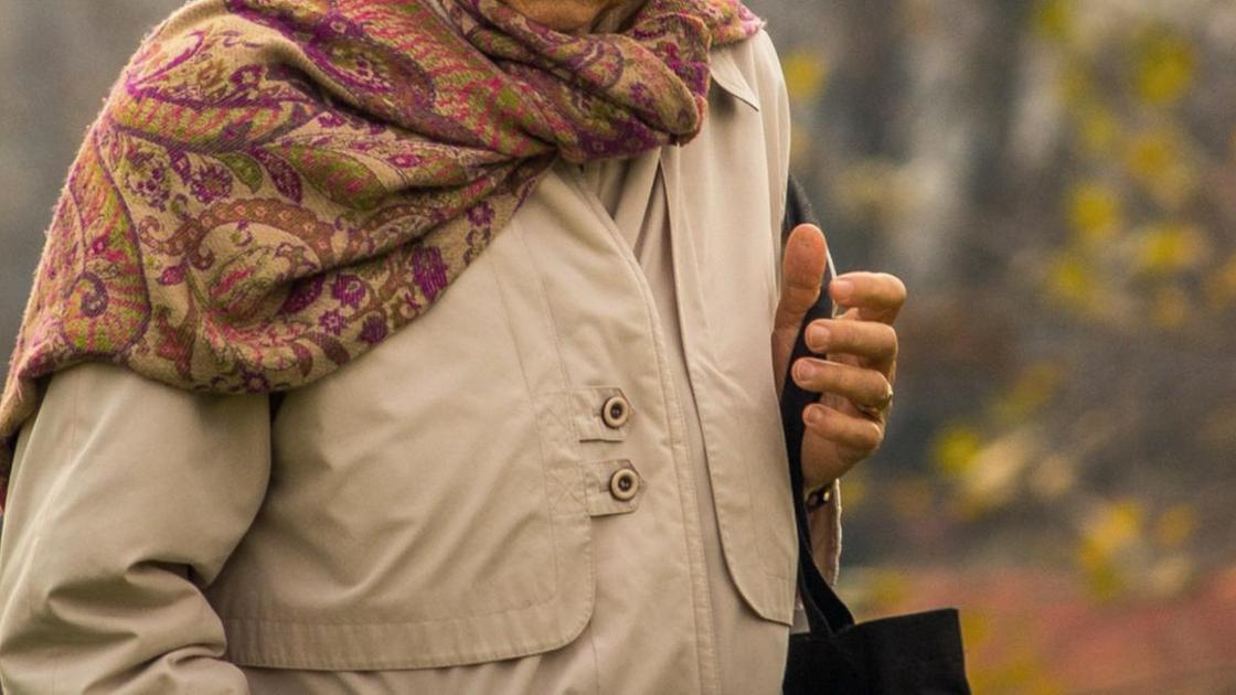 Пожилая женщина несет сумку
