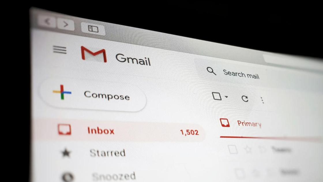 Страница сервиса электронной почты Gmail