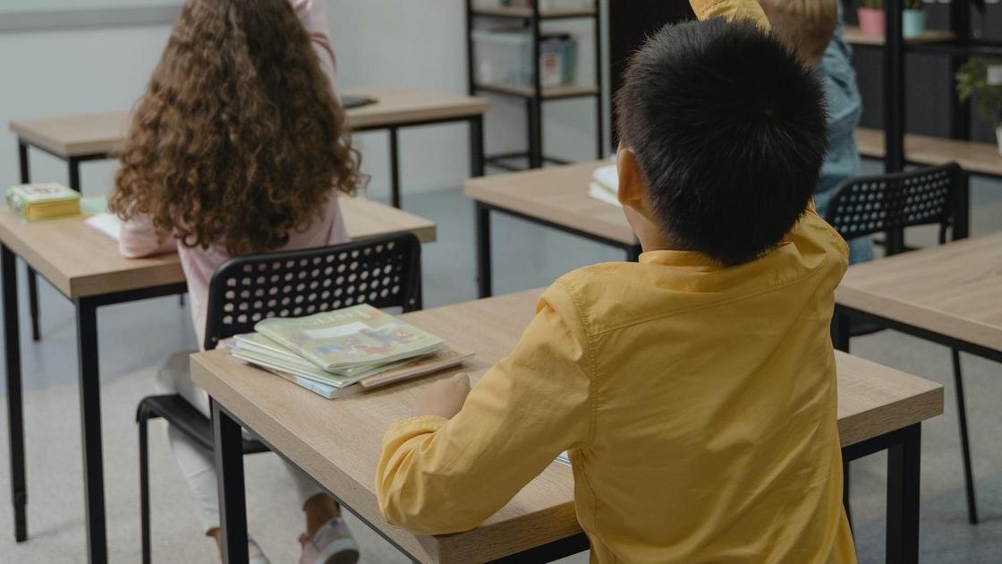 Ученики сидят за партами в школе