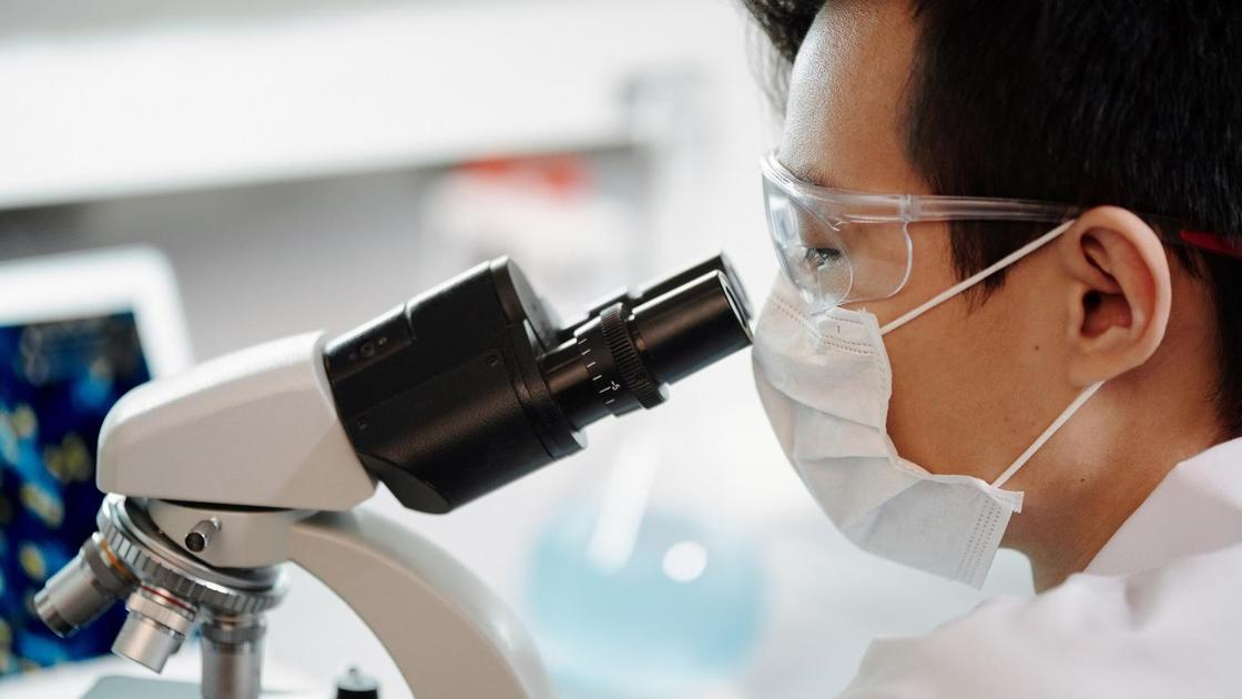 Лаборант смотрит в микроскоп